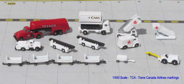 Aero Classics Ground Support Equipment 1/400 Scale RETRO Trans Canada Airlines Set of GSE's.