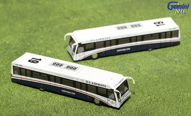 Gemini Jets Accessory US Airways Airport 2 Piece GSE Bus Set