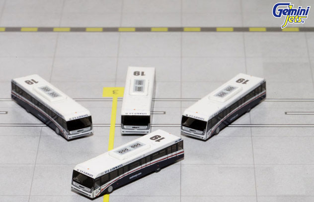 Gemini Jets Accessory US Airways Airport 4 Piece GSE Bus Set