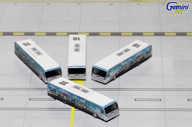 Gemini Jets Accessory^US Airways Airport 4 Piece GSE Bus Set